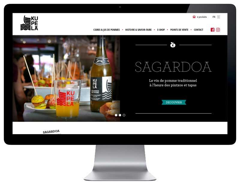 Ecommerce pour vente cidres et jus de pommes pays basque responsive grand écran