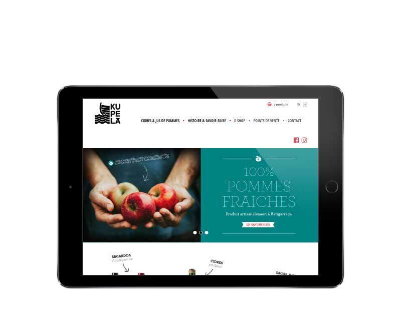 Ecommerce pour vente cidres et jus de pommes pays basque responsive tablette