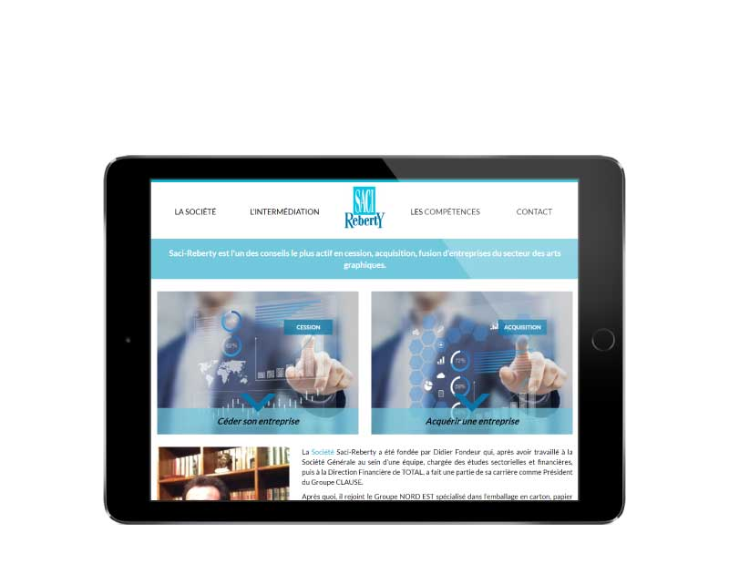 Site wordpress responsive pour societe conseil cession acquisition tablet