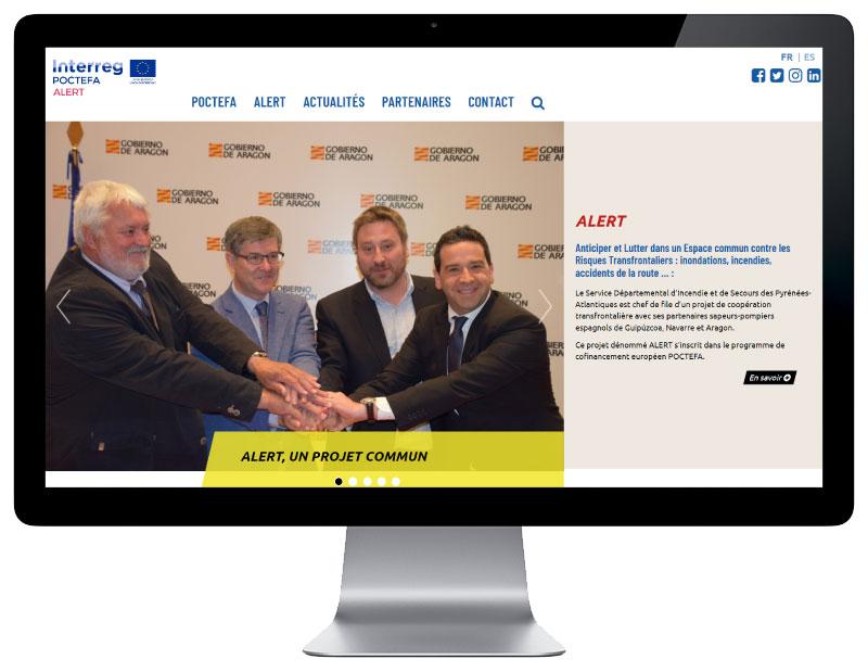 Site internet projet transfrontalier pompiers pays basque responsive grand écran