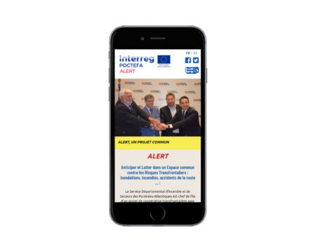 Site internet projet transfrontalier pompiers pays basque responsive mobile
