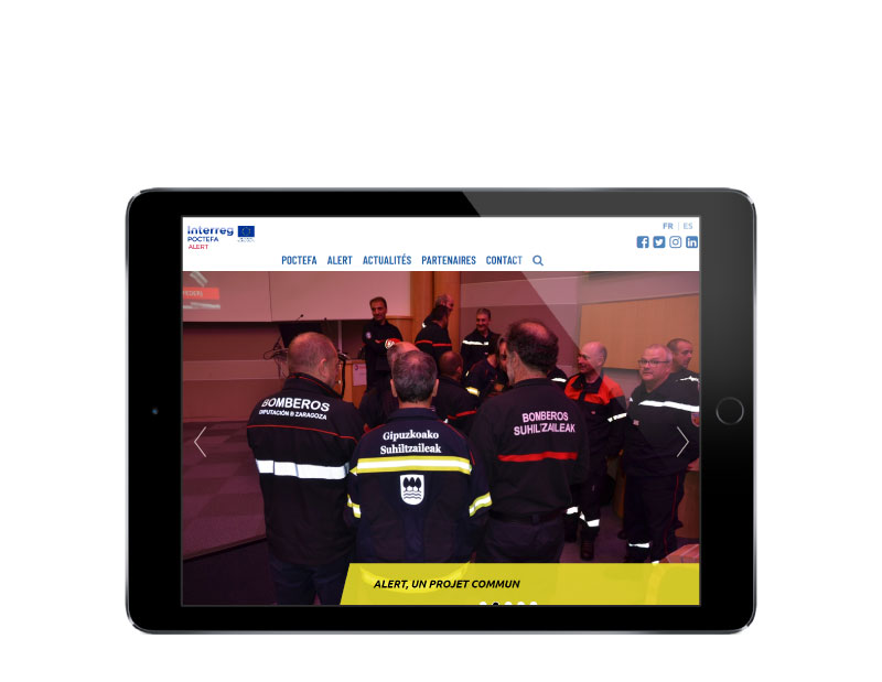 Site internet projet transfrontalier pompiers pays basque responsive tablette