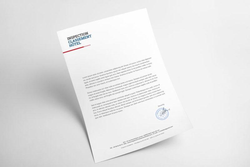 Conception graphique d'un papier à entête pour services aux professionnels du tourisme