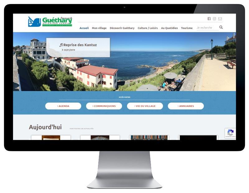 Site internet responsive mobile wordpress pour une mairie du pays basque sur grand écran