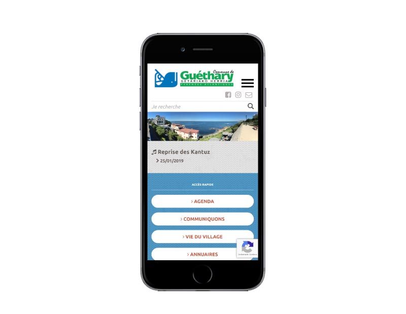 Site internet responsive mobile wordpress pour une mairie du pays basque sur mobile
