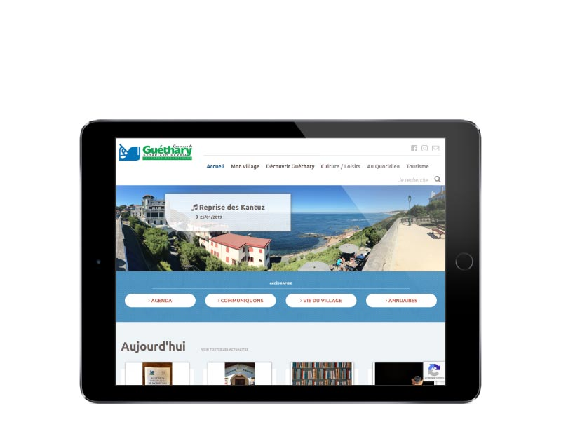 Site internet responsive mobile wordpress pour une mairie du pays basque sur tablette