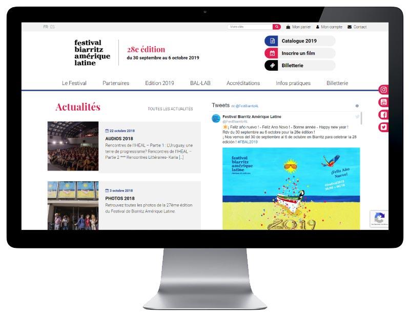 Agence de création de site Internet pour festival de cinéma à Biarritz sur grand écran
