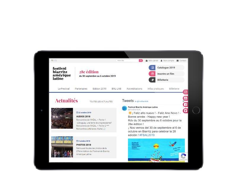 Agence de création de site Internet pour festival de cinéma à Biarritz sur tablette
