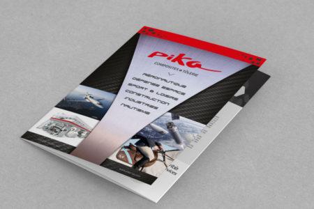 Le studio de design graphique de l'agence REZO 21 Anglet Pays Basque réalise la plaquette 3 volets de PIKA Composites Bayonne