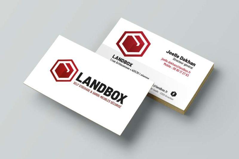Le studio graphique de l'agence REZO 21 Anglet Pays basque réalise la carte de visite de Landbox