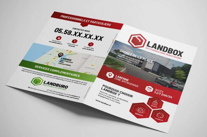 Le studio graphique de l'agence REZO 21 Anglet Pays basque réalise le dépliant A5 recto verso de Landbox