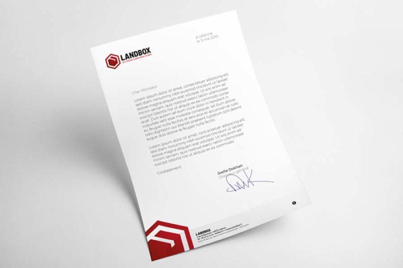 Le studio graphique de l'agence REZO 21 Anglet Pays basque réalise le papier à entête de lettre de Landbox