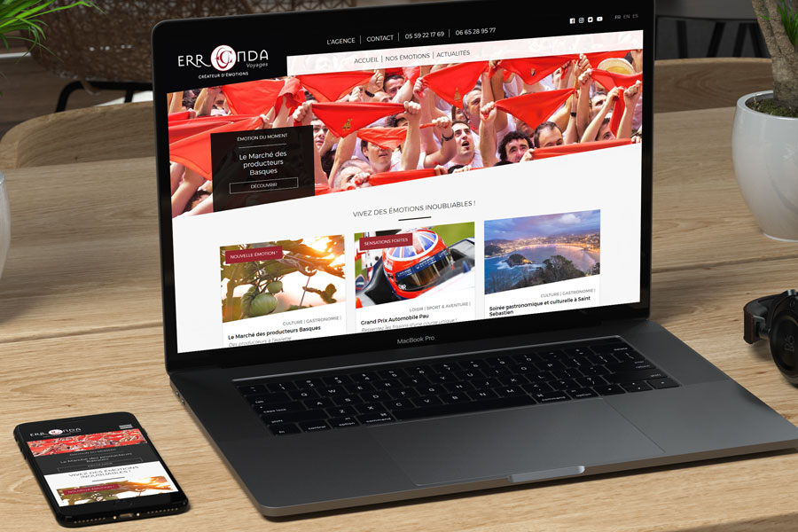 Agence web au pays basque, REZO 21 vient de réaliser la création du site Internet responsive sur mesure pour l'agence de voyages Erronda Pays basque