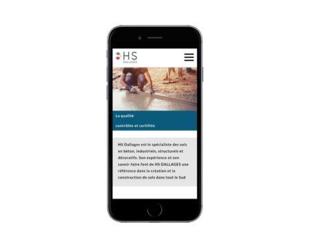 REZO 21 agence web bayonne de création de sites Internet WordPress au Pays basque intègre le site de HS Dallages - responsive sur mobile