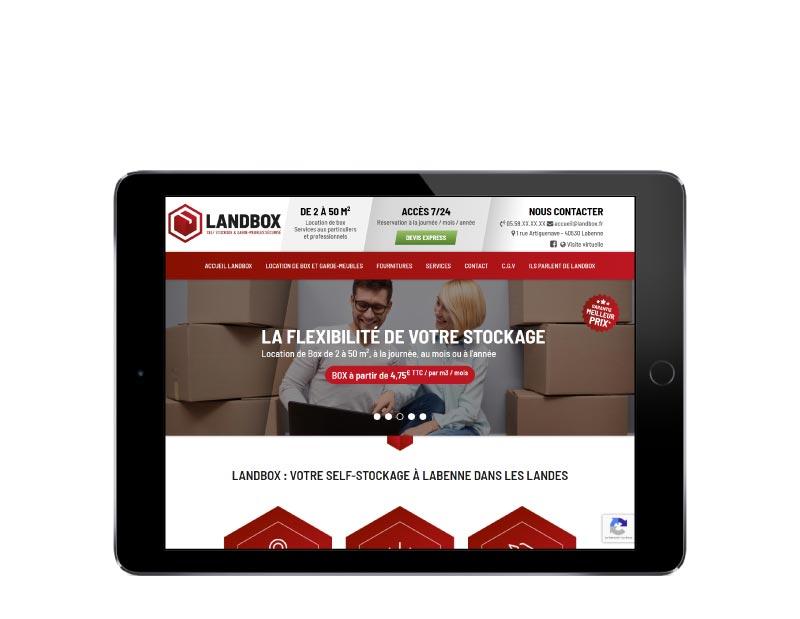 L'agence web REZO 21 pays basque créé un site internet sur mesure avec wordpress pour landbox self stockage et garde meubles à labenne dans les landes