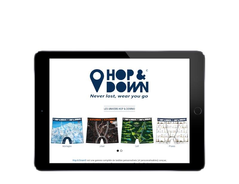 L'agence wordpress pays basque Rezo 21 développe le site internet pour la marque de textite personnalisé Hop & Down