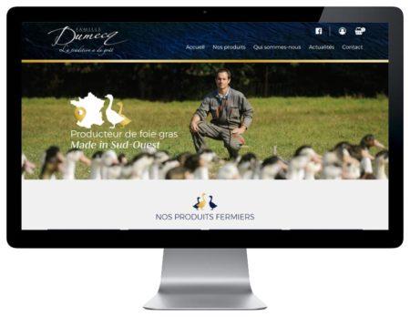 Rezo 21 agence digitale développe le ecommerce de vente en ligne de foie gras de canard des Landes Famille Dumecq responsive desktop