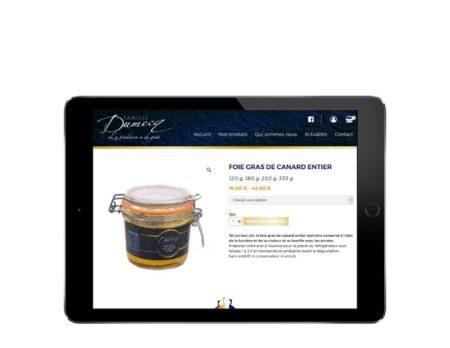 Rezo 21 agence digitale développe le ecommerce de vente en ligne de foie gras de canard des Landes Famille Dumecq responsive tablette