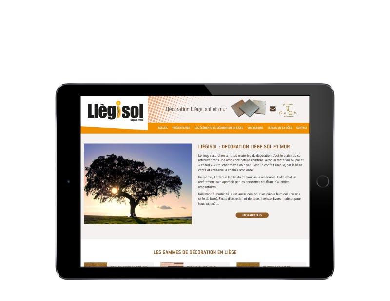 L'agence web REZO 21 de création de sites internet sur mesure avec wordpress a Anglet au Pays Basque développe le nouveau site responsive de Liegisol, produits de décoration en liège