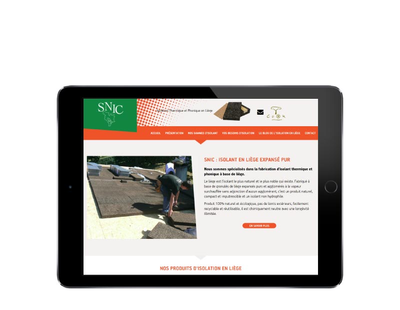 REZO 21 agence web développe le nouveau site Internet WordPress de SNIC Liège isolation naturelle resposive tablette