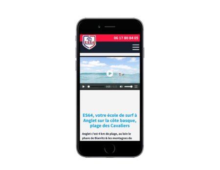 REZO 21 réalise la refonte du site Internet WordPress pour l'école de surf ES64 plage des Cavaliers à Anglet