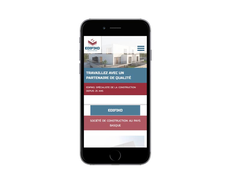 Edifiko vue du site internet wordpress sur mobile