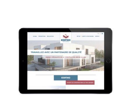 Edifiko vue du site internet wordpress sur tablette
