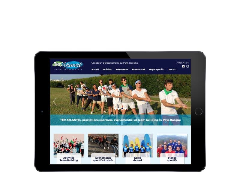 Site internet Ter'atlantik sur tablette