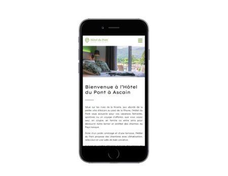 Site wordpress Hotel du Pont Ascain sur mobile