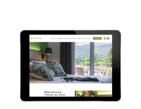 Site wordpress Hotel du Pont Ascain sur tablette