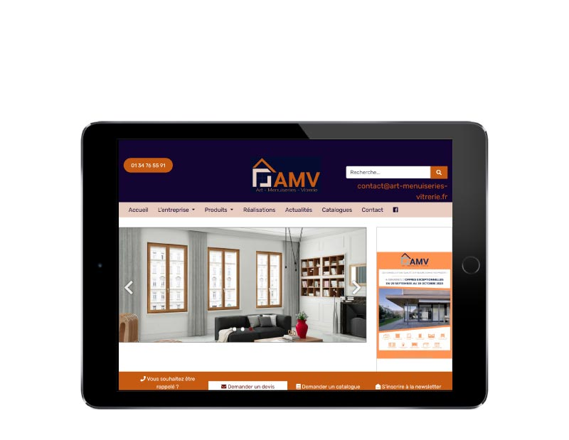 REZO 21 site web Art Menuiseries Vitrerie responsive tablette
