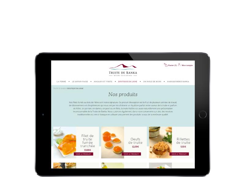 REZO 21 développe la boutique woocommerce de la truite de banka responsive tablette