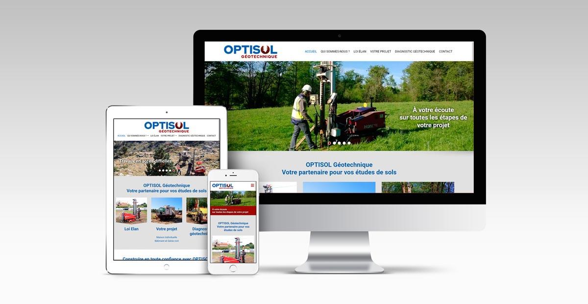 Nouveau logo et nouveau site Internet pour Optisol, bureau d'études géotechnique